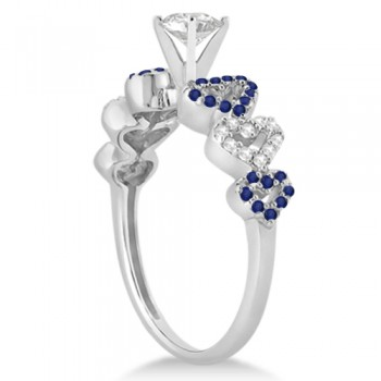 Blue Sapphire & Diamond Heart Engagement Ring 14k White Gold (0.30ct)