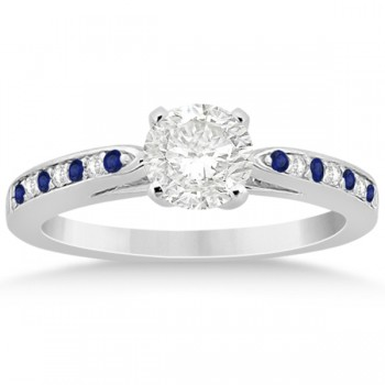 Blue Sapphire & Diamond Engagement Ring Set 14k White Gold (0.55ct)