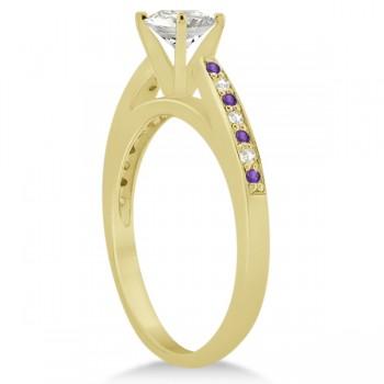 Amethyst & Diamond Engagement Ring 14k Yellow Gold 0.26ct