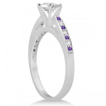 Amethyst & Diamond Engagement Ring Palladium 0.26ct