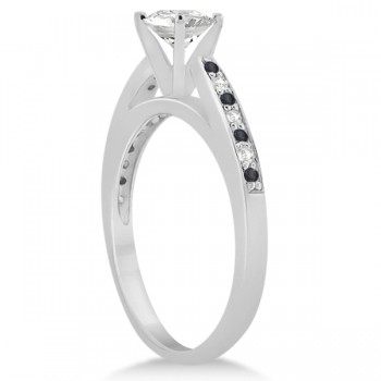 Black & White Diamond Engagement Ring 14k White Gold 0.26ct