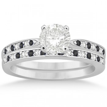 Black & White Diamond Engagement Ring Set 14k White Gold (0.55ct)
