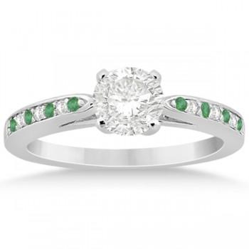 Cathedral Green Emerald Diamond Engagement Ring Palladium 0.22ct