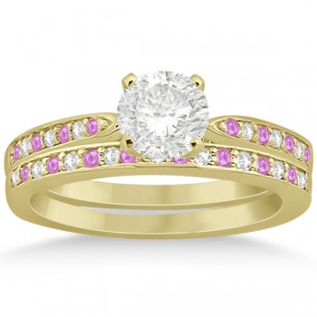 Pink Sapphire & Diamond Engagement Ring Set 18k Yellow Gold (0.55ct)