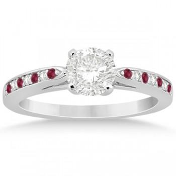 Ruby & Diamond Engagement Ring Bridal Set 18k White Gold (0.47ct)