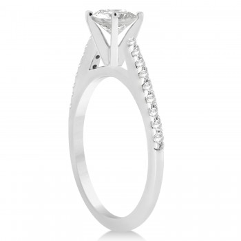 Diamond Accented Engagement Ring Setting 14k White Gold 0.18ct