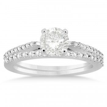 Diamond Accented Bridal Set 14k White Gold 0.37ct