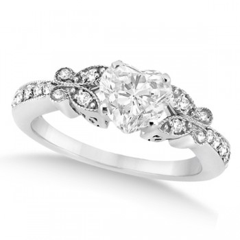 Heart Diamond Butterfly Design Engagement Ring 14k White Gold (0.50ct)