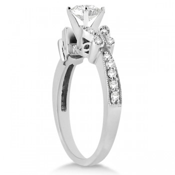 Round Diamond Butterfly Design Engagement Ring 14k White Gold (0.50ct)
