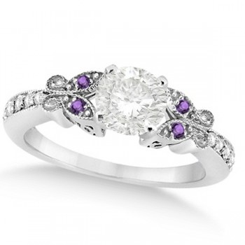 Round Diamond & Amethyst Butterfly Engagement Ring 14k W Gold (0.50ct)