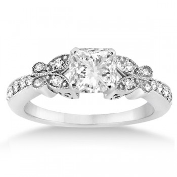 Princess Diamond Butterfly Bridal Ring Set 14k White Gold (0.76ct)