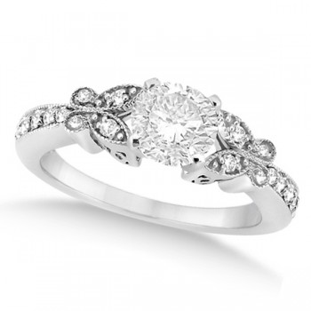 Round Diamond Butterfly Design Bridal Ring Set 14k White Gold (0.76ct)