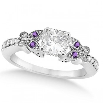 Princess Diamond & Amethyst Butterfly Bridal Set in 14k W Gold 0.71ct