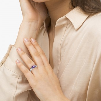 Butterfly Amethyst & Diamond Heart Engagement Ring 14K W Gold 1.28ct