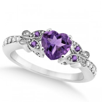 Butterfly Amethyst & Diamond Heart Bridal Set 14k White Gold 1.55ct