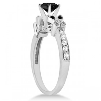 Butterfly Black & White Diamond Heart Engagement Ring 14K W Gold 1.3ct