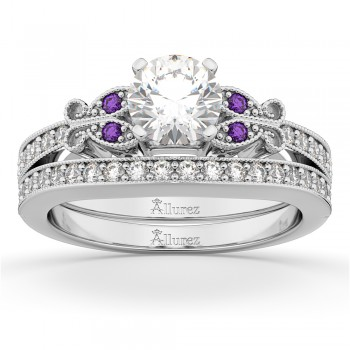 Butterfly Diamond & Amethyst Bridal Set 18k White Gold (0.42ct)