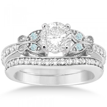 Butterfly Diamond & Aquamarine Bridal Set Palladium (0.42ct)