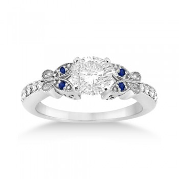 Butterfly Diamond & Sapphire Engagement Ring Palladium (0.20ct)