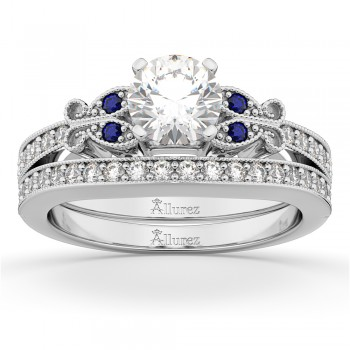 Butterfly Diamond & Blue Sapphire Bridal Set 14k White Gold (0.42ct)