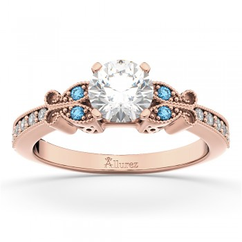 Butterfly Diamond &  Blue Topaz Engagement Ring 14k Rose Gold (0.20ct)