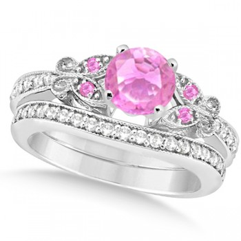 Butterfly Pink Sapphire & Diamond Bridal Set 14k White Gold 1.10ct