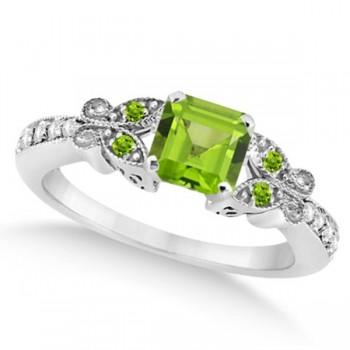 Butterfly Genuine Peridot & Diamond Princess Ring 14k W. Gold 1.31ct