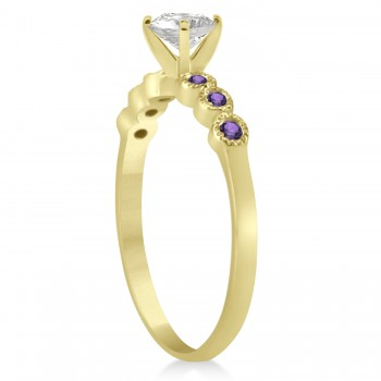 Amethyst Bezel Set Engagement Ring Setting 18k Yellow Gold 0.09ct