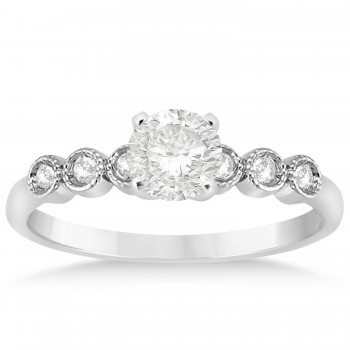 Diamond Bezel Accented Bridal Set 14k White Gold 0.19ct