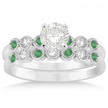 Emerald & Diamond Bezel Accented Bridal Set 14k White Gold 0.19ct
