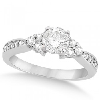 Floral Diamond Accented Engagement Ring in 14k White Gold (0.78ct)
