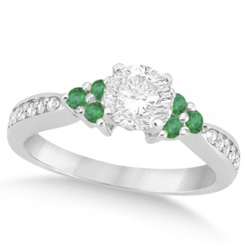 Floral Diamond and Emerald Engagement Ring 14k White Gold (0.78ct)