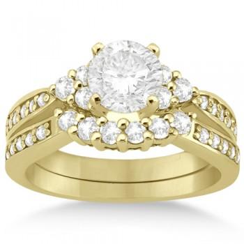 Floral Diamond Engagement Ring & Wedding Band 14k Yellow Gold (0.56ct)