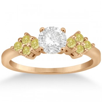 Yellow Diamond Engagement Ring & Wedding Band 14k Rose Gold (0.34ct)