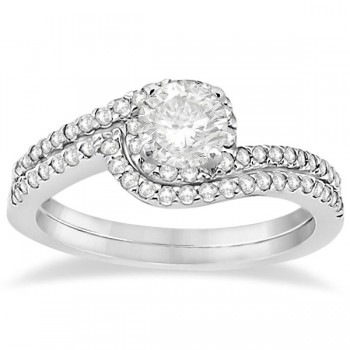 Halo Twist Diamond Bridal Set Ring & Band 14k White Gold (0.28ct)