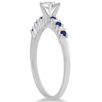 Petite Diamond & Sapphire Bridal Set 14k White Gold (0.35ct)