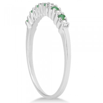 Petite Diamond & Emerald Wedding Band 14k White Gold (0.20ct)