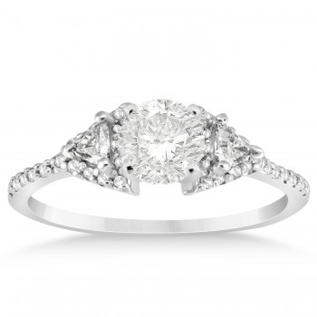 Diamond Halo Trilliant Engagement Ring Setting 14k White Gold 0.27ct