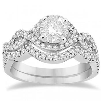 Diamond Infinity Halo Engagement Ring & Band Set