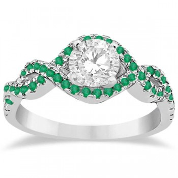 Emerald Infinity Halo Engagement Ring & Band Set 14K White Gold (0.60ct)