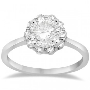 Floral Diamond Halo Engagement Ring Setting 14k White Gold (0.20ct)