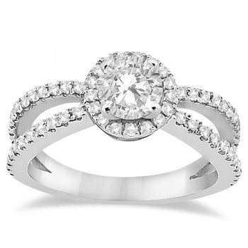 Diamond Halo Split Shank Engagement Ring 14k White Gold (0.46ct)
