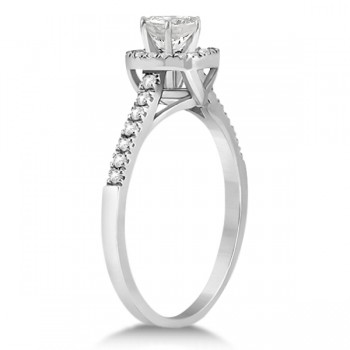 Diamond Halo Square Engagement Ring 14K White Gold (0.26ct)