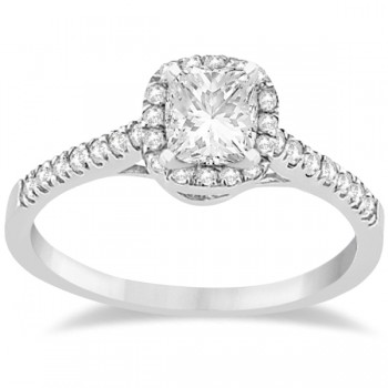 Diamond Halo Square Engagement Ring Palladium (0.26ct)
