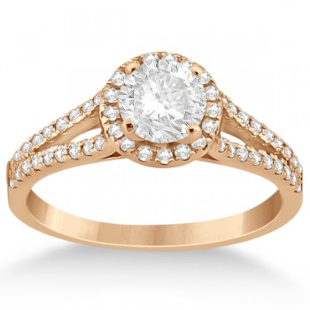 Angels Halo Diamond Engagement Ring & Wedding Band 14k Rose Gold