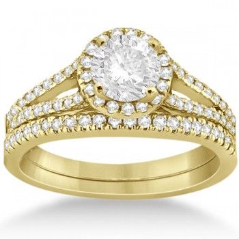 Angels Halo Diamond Engagement Ring & Wedding Band 14k Yellow Gold