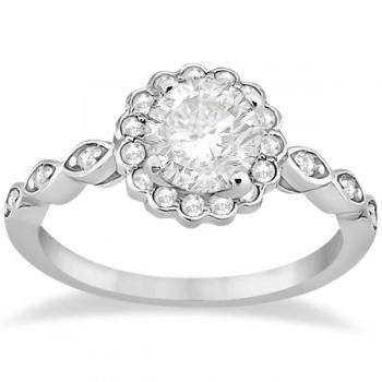 Floral Diamond Halo Bridal Set Ring and Wedding Band Platinum (0.36ct)