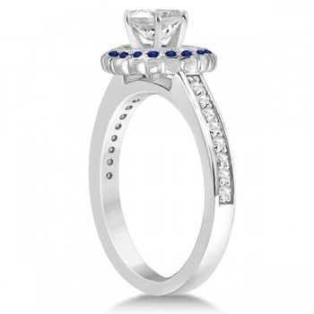 Halo Diamond and Blue Sapphire Engagement Ring 14k White Gold (0.62ct)