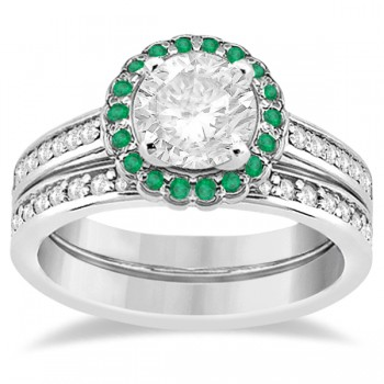 Floral Halo Diamond & Emerald Bridal Ring Set 14k White Gold (0.83ct)