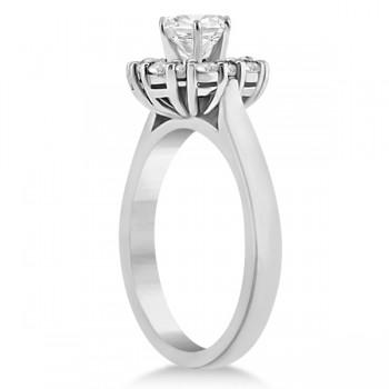 Diamond Halo Engagement Ring 14K White Gold Prong Setting (0.32ct)